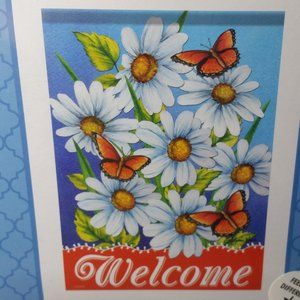 Outdoor Garden Flag Double Sided Welcome Butterfly